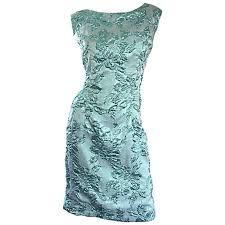 light blue silk dress beautiful 1960s light blue silk metallic lurex teal embroidered 50s