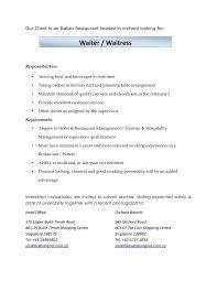 100 waitress resume example sample waiter resume cover letter