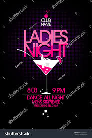 pink martini poster ladies night party design martini glass stock vector 175607633