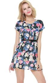 multi floral short sleeve pleated chiffon dress casual dresses