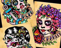 day of the dead prints mexican loteria set of 9 designs