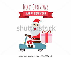 send a gift santa on scooter santa carries gifts stock vector 541456417