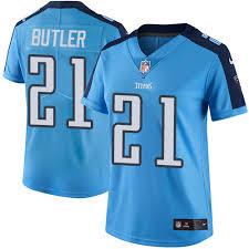nike titans 21 malcolm butler light blue women s stitched nfl