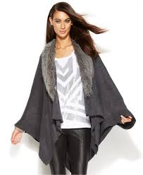 sweater with faux fur collar lyst inc international concepts faux fur collar poncho sweater