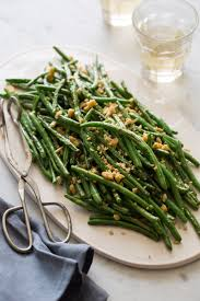 lightly roasted green beans side dish recipe spoon fork bacon