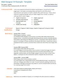 cv example web designer u2013 cover letters and cv examples