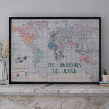 World Map Fabric by Personalised Embroidered Fabric Map Notice Board By The Crafty