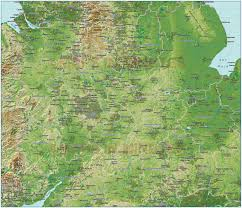 England County Map by Central England County Map 1 000 000 Scale Plus A Strong Colour