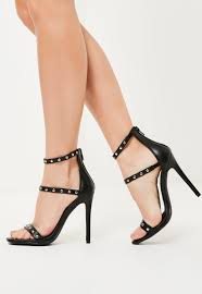 black faux leather 3 strap studded heeled sandals missguided