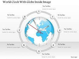 business diagram world clock with globe inside image presentation