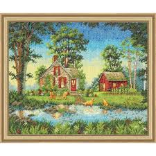 dimensions summer cottage counted cross stitch