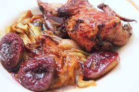 cuisiner la caille cailles rôties aux figues confites épicées et endives braisées