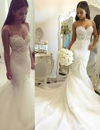 spaghetti wedding dress buy nectarean spaghetti straps mermaid court wedding dress