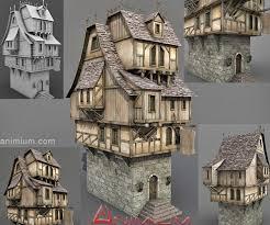 medieval tavern stone house 3d model
