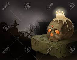 halloween candels halloween background with human skull candles and graveyard
