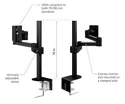 clamping monitor stand with extendable articulating arm