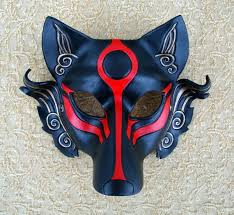 wolf mask black okami leather mask handmade japanese wolf mask leather