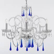 blue crystal chandelier light empress 5 light crystal chandelier with blue crystal trimmed with