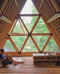 view from inside of dream house hideout all bamboo house settled