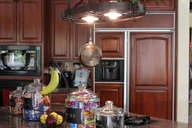 rural kitchen with hanging pot rack trends also lights picture