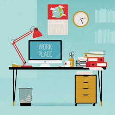 creative office work desk u2014 stock vector masha tace 62239579