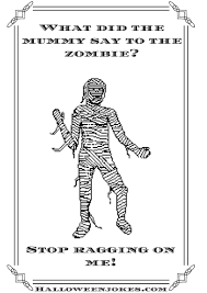 black and white halloween joke cartoon mummy cpal