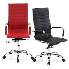 Leather Chairs Office Tall Executive Pu Leather Ribbed Office Desk Chair High Back
