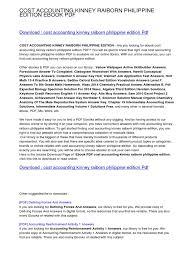 cost accounting kinney raiborn philippine edition pdf e books