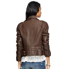 denim motorcycle jacket denim u0026 supply ralph lauren leather motorcycle jacket in brown lyst