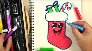 how to draw a cute christmas stocking emoji for beginners kiddy