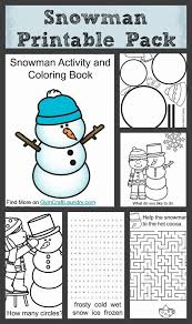 free printable pack snowman activity coloring book gym