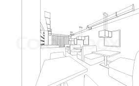draft design of the restaurant 3d graphic design interior stock