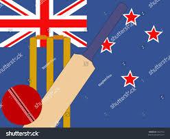 Cricket Flags Cricket Bat Stumps New Zealand Flag Stock Vector 2925472