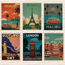 travel posters images Vintage travel paris london poster retro kraft travel poster jpg