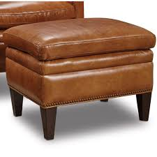 Viewpoint Leather Sofa by Jilian Top Grain Leather Ottoman In Huntington Morrison By Hooker