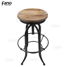rustic swivel wooden bar stool chairs vintage industrial bar