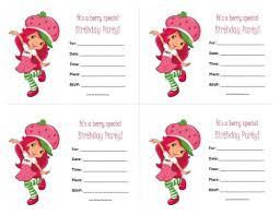 printable birthday invitations strawberry shortcake free printable strawberry shortcake birthday invitations