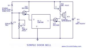 doorbell circuit with diagram and schematic using um 66 ic