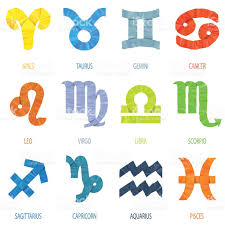 color geometric polygon zodiac signs and icons vector illustration