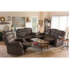 Reclining Living Room Sets Baxton Studio Hollace Modern And Contemporary Taupe Microsuede