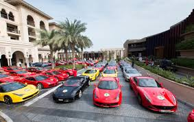ferrari dealership showroom f1 parade