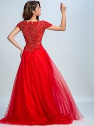dramatic a line scoop cap sleeves sweep train red tulle beaded