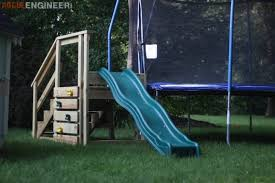 trampoline stairs with slide rogue engineer