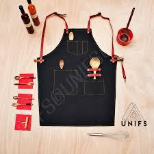 tablier de cuisine tablier de travail 100 coton noir tablier chic et de qualité unifs