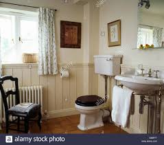 White Tongue And Groove Bathroom Furniture Dado Tongue Groove Panelling In Country Bathroom With