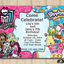 twins birthday invitation monster high from eventsprintables on