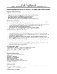 Telecom Resume Samples by Telecommunications Technician Resume Template Virtren Com