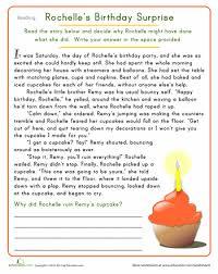 rochelle u0027s birthday surprise worksheets reading comprehension