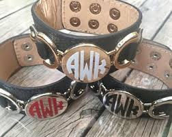 Monogrammed Cuff Bracelet Initial Leather Cuff Etsy