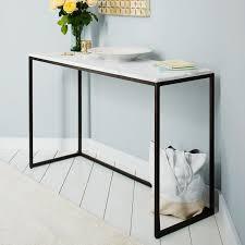 west elm entry table box frame console marble antique bronze west elm